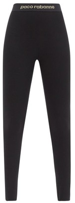 Paco Rabanne Logo-jacquard Jersey Stirrup Leggings - Black Multi