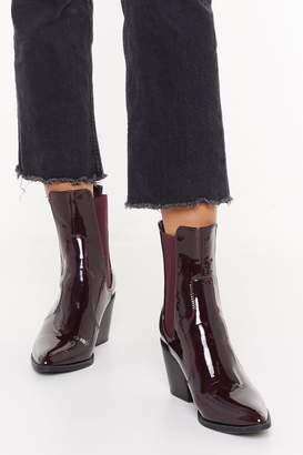 Nasty Gal Womens Go Western Patent Faux Leather Boots - red - 3