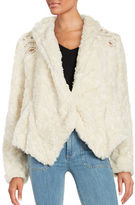 Free People Embroidered Faux Fur Coat