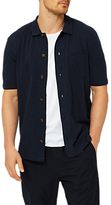 Selected Homme Ras Full Button Polo Short Sleeve Shirt, Dark Sapphire