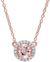 Rina Limor Fine Jewelry Rose Gold, Morganite & 0.10 Total Ct. Diamond Pendant Necklace