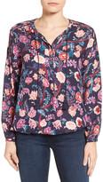Lucky Brand Tassel Tie Floral Print Blouse