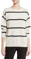 Brunello Cucinelli Monili-Stripe Cashmere Sweater, Beige