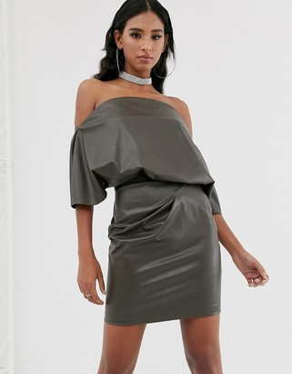 ASOS DESIGN PU drape shoulder mini dress