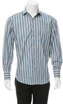 Robert Graham Silk-Trimmed Striped Shirt
