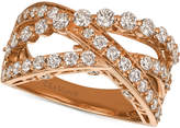 LeVian Le Vian® Strawberry & NudeTM Diamond Crisscross Ring (1-1/3 ct. t.w.) in 14k Gold or Rose Gold