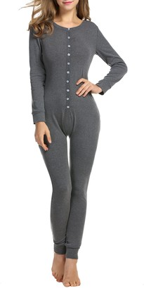 HOTOUCH Womens Long Sleeve Union Suit Thermal Underwear One Piece Dark Grey XXL