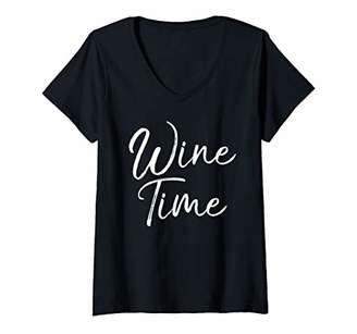 Womens Funny Wine Saying Gift for Women Cute Drinking Wine Time V-Neck T-Shirt