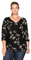 Lucky Brand Women's Plus Size Garden Pintuck Top