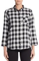 C&C California Check Roll-Sleeve Pocket Blouse