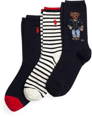 Ralph Lauren Polo Bear Crew Sock 3-Pack