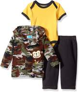 Bon Bebe Boys' 3 Piece Microfleece Jacket Set with Bodysuit and Pant