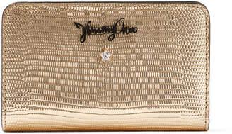 Jimmy Choo OLLIE Gold Metalized Lizard Print Leather Zip Around Wallet
