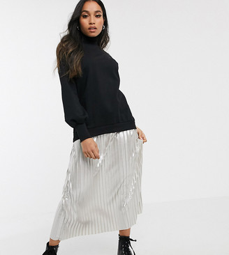 Asos DESIGN Petite 2 in 1 sweat dress in black with silver metallic pleat hem
