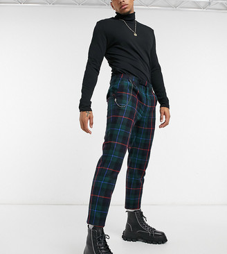 Twisted Tailor skinny cropped trouser in tartan with pleat and pocket chain
