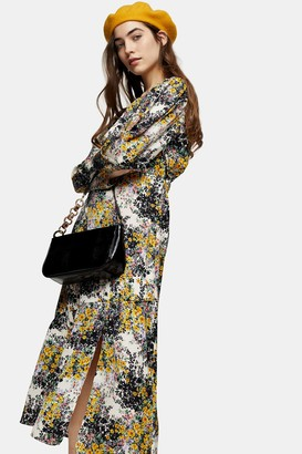 Topshop Fresh Floral Print Midi Dress