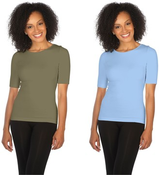 skinnytees Missy Elbow-Sleeve Crew-Neck Set of 2 T-Shirts