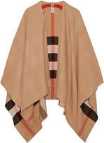 Burberry Reversible Checked Merino Wool Wrap - Camel
