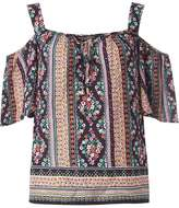 Multi Colour Border Print Cold-Shoulder Top