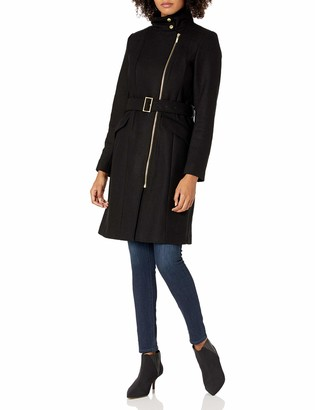 Cole Haan WOMENS Signature Hooded Wool Duffle Coat Red 14