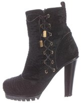 Marc Jacobs Ponyhair Lace-Up Ankle Boots