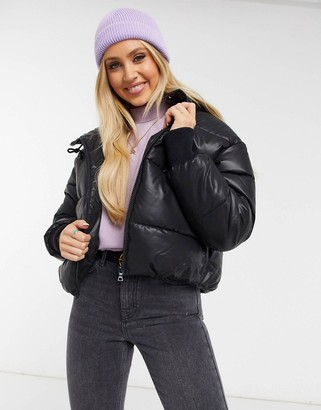 Monki Amber faux-leather short padded jacket with hood in black