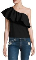 Alice + Olivia Calla Ruffled One-Shoulder Top
