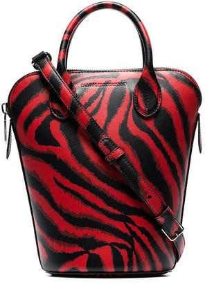 Calvin Klein Red Dalton mini tiger print leather bucket bag