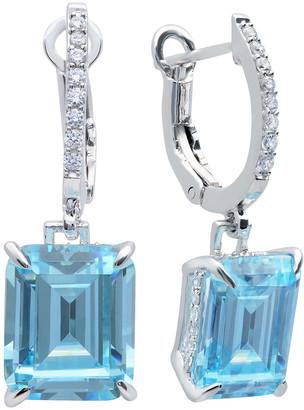 Crislu Platinum-Plated Silver Cz Drop Earrings