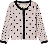 GUESS Pink and Black Spot Knit Cardigan with Bow