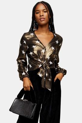 Topshop Womens Star Foil Tie Front Blouse - Black