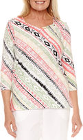 Alfred Dunner 3/4 Sleeve Sweetheart Neck T-Shirt-Womens