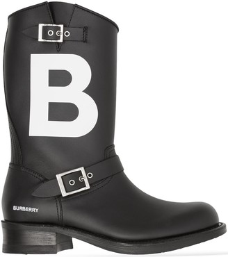 Burberry TB leather biker boots