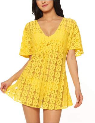 Jessica Simpson O-Ring Crochet Swim Cover-Up Dress Women Swimsuit
