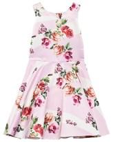David Charles Pink Rose Print Satin Dress