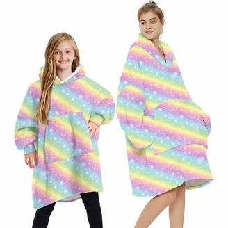 laamei Wearable Blanket Sweatshirt Hoodie Warm Cozy Oversized Sherpa Fleece Plush Cartoon Hooded Top Blanket Hoodie with Warm Front Pocket One Size Fits All