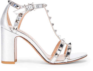 Valentino Rockstud Strap Heels in Silver | FWRD