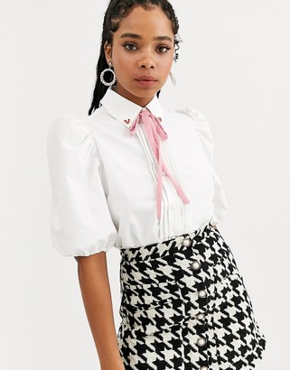Sister Jane puff sleeve shirt with heart collar in cotton-White