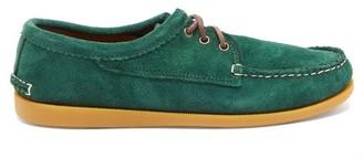 Quoddy Blucher Gum-sole Suede Loafers - Mens - Green