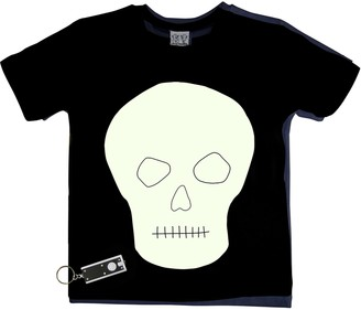Little Mashers - Glow In The Dark Interactive T-Shirt - Skull Design Adult Black - Adult Small - Black