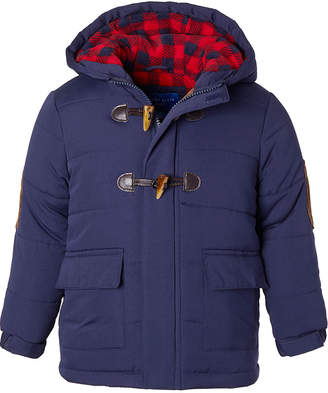 Perry Ellis Boys' Puffer Coats NAVY - Navy & Red Buffalo Check Toggle Puffer Coat - Toddler