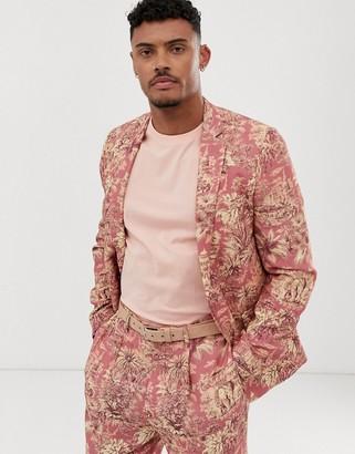 Asos DESIGN skinny suit jacket with elephant print in linen look