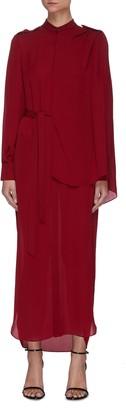 Roland Mouret 'Northcott' Drape Front Belted Georgette Midi Dress