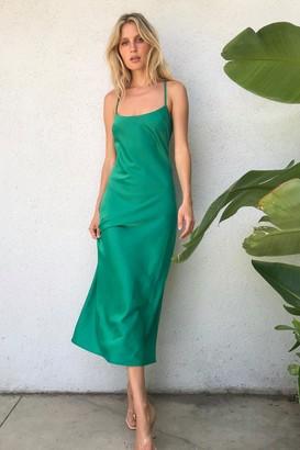 Nasty Gal Womens It Just Flows Satin Midi Dress - Bright Green