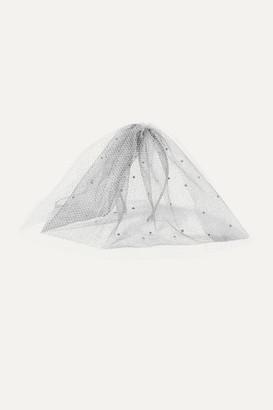 Gigi Burris Millinery + Net Sustain Swarovski Crystal-embellished Glittered Silk-tulle Veil - Silver