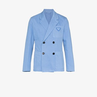 Prada Denim Double-Breasted Blazer