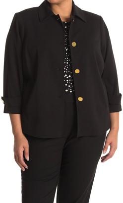 Calvin Klein Solid 3/4 Sleeve Button Front Jacket
