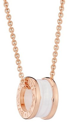 Bvlgari B.zero1 18K Rose Gold & White Ceramic Necklace