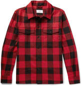 Ami Buffalo Checked Brushed Virgin Wool-twill Overshirt - Red
