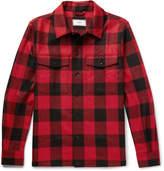 Ami Buffalo Checked Brushed Virgin Wool-Twill Overshirt